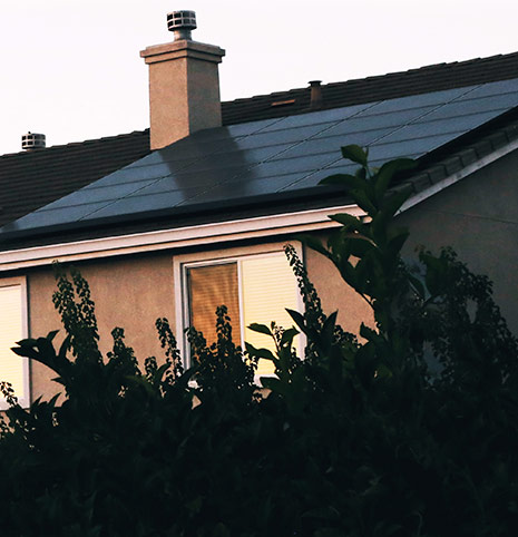Solar panel on detached house